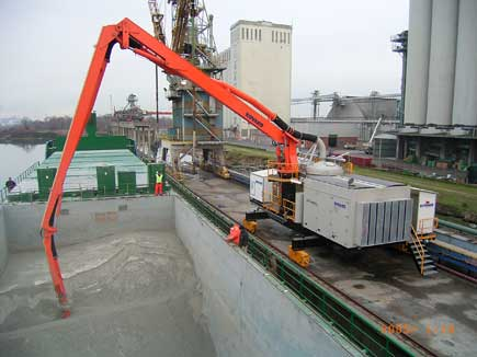 Figure 11: Pnuematic Rail Mounted Unloader (photo courtesy of FLSmidth)