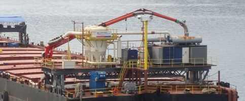 Figure 9: Floating Storage Rail Mounted Unloader (Photo courtesy of VAN AALST Bulk Handling)